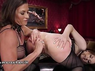 Busty dominatrix anal fucks brunette