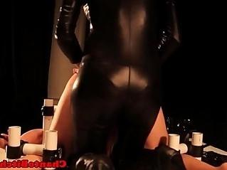 Restrained sub dildofucked by femdom mistress