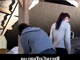 Brunette spanked and fucked for being lazy