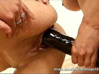 Blonde brunette Euro duo fucking with huge strapons
