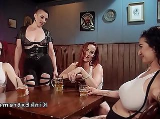 Huge tits slave in foursome lezdom