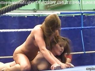 Sweet lesbian model wrestling match
