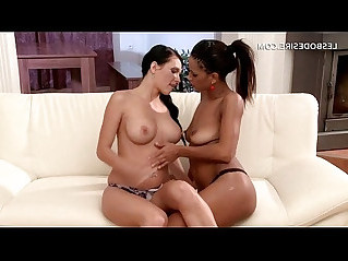 Topless beauties tempting one another in lesbo sex