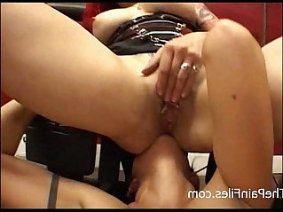 Kinky lesbian domination and lezdom whipping of dark latina submissive by femdom